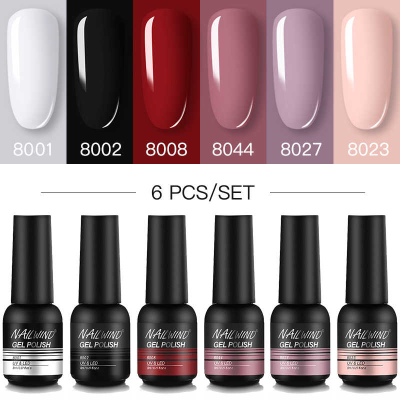 NAILWIND Gel Nail Polish 6 PCS/Set Hybrid Pernis Semi Permanen UV LED Base Top Coat untuk Nais Seni Manikur Kit gel Polish Set