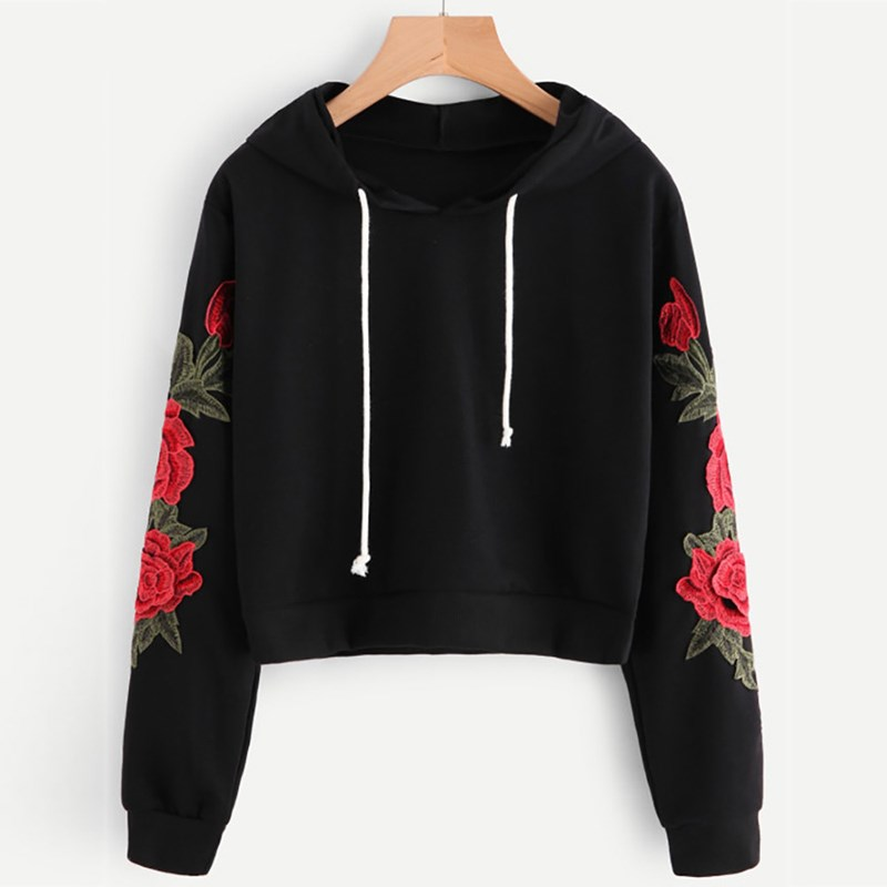 Women Fashion Floral Applique Sweatshirts Long Sleeve Hooded Pullover Casual High Quality Lantern Hoodies