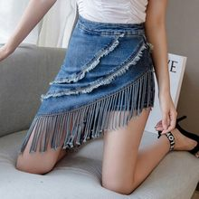 High Street Tassel Irregular Denim Skirt Women Korean Fashion Streetwear Skirt Shorts High Waist Slim Fit Mini Wrap Skirt S-XL(China)