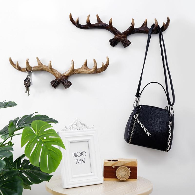 New European Style Retro Antlers Hooks Wall Hanging Coat Hook Resin Sundries Hanger Wall Mounts Room Storage Racks Crafts Home D|Hooks & Rails| |  - title=