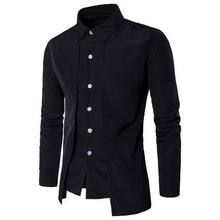 PUIMENTIUA Mens Business Shirts Autumn Solid Color Two-piece Shirt Casual Long Sleeve Single Row Buttons Lapel new