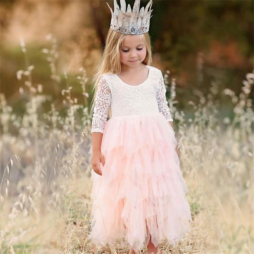Baby Children Girl Dress 2018 Kids Ceremony Party Dresses Tulle Lace Flower Girl Wedding Gown Baby Girl Graduation Dress 2