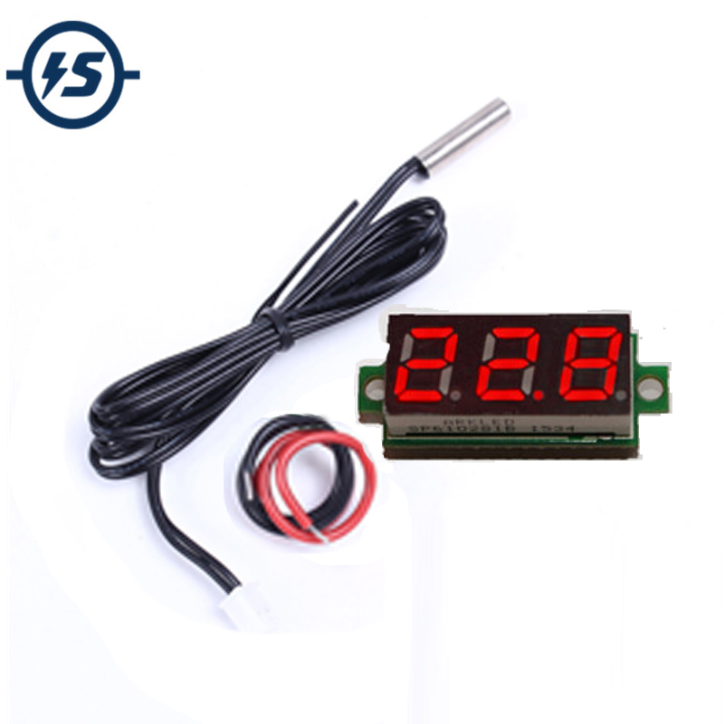 Temperature Sensor 0.28 Inch Red Digital Display Thermometer Meter Detector Module With NTC Metal Waterproof Probe