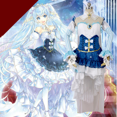 Hight Quality Anime Hatsune Miku Snow Princess Lolita Dress Woman Cosplay Costume Dress + Headwear + Socks + Tippet