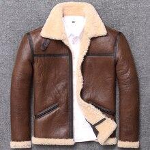 شحن مجاني ، الشتاء الأغنام الفراء معطف ، الكلاسيكية B3 الصوف Shearling ، الدافئة سترة جلدية ، رجل الغنم معطف. زائد حجم سترة.