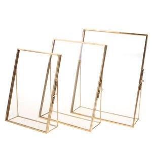 Простая Античная Золотая прямоугольная стеклянная фоторамка, складные настольные картины, латунные рамки для портретов и ландшафтного домашнего декора|Рамка|   | АлиЭкспресс