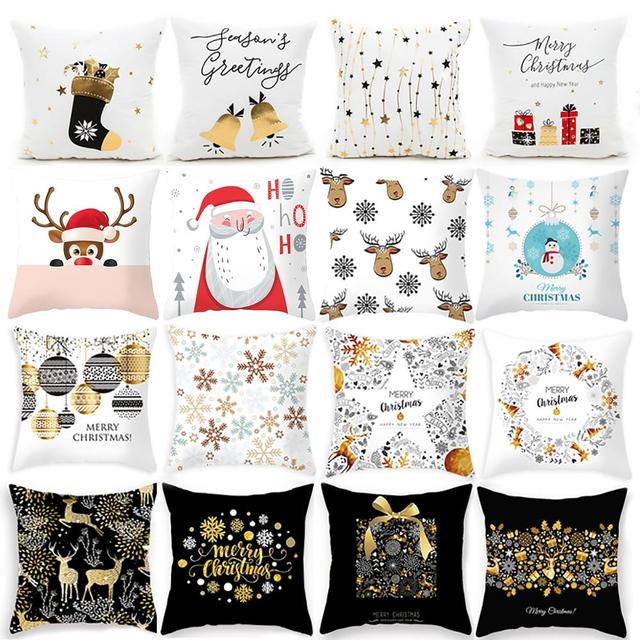 45X45CM Pillow Case Merry Christmas Decoration For Home 2019 Christmas Ornament Christmas Gift Cristmas Noel Happy New Year 2020 5