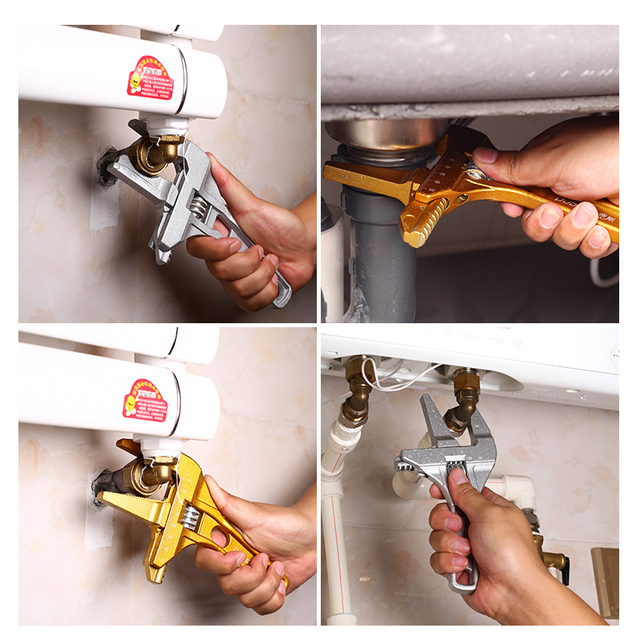 AI-ROAD Bathroom Water Pipe Wrench Adjustable Spanner Multi-Function Repair Tool Universal large Open Short Handle Plumbing Tool 2