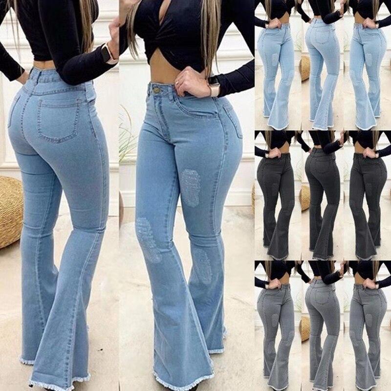 Women High Waist Denim Jeans Solid Slim Flare Pants Ladies Skinny Full Length Jean Plus Size S-3XL
