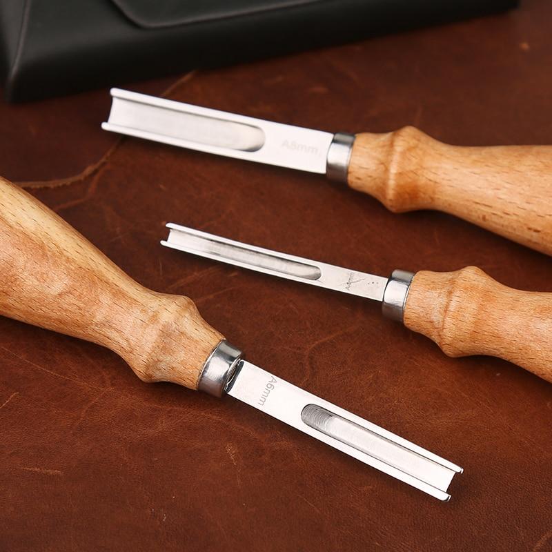 LMDZ 4/6/8mm  Leather Craft Edge Trimming Tools Kit Wide Shovel Blade Drumming Wood Handle Cutting Edge Skiving Craft Supplies 4