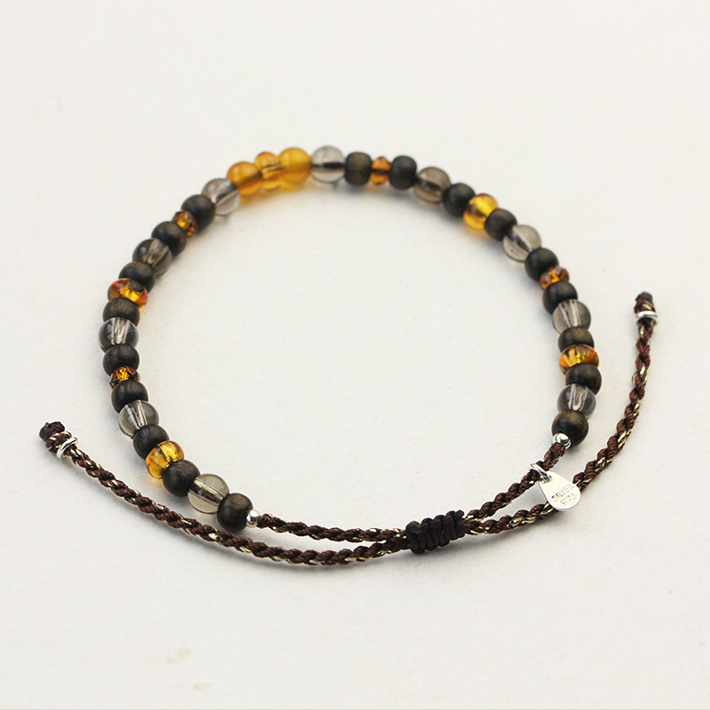 Natural Stone Sandalwood Citrine Crystal Beads Bracelets For Women 925 Sterling Silver Hand Braided Rope String Handmade Jewelry