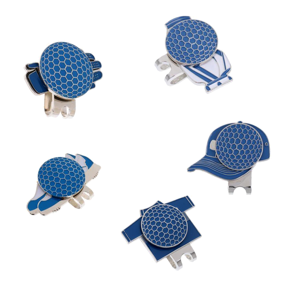5pcs New Assorted Patterns Hat Clip Golf Ball Marker Magnetic Golf Marker Pocket Size Golfer Gift Golf Accessories Blue