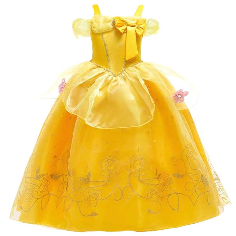 Princess LIttle Girls Belle Cosplay Summer Dresses Girl's Elsa Anna Snow Dress Clothing Baby Kids Beauty And The Beast Clothes