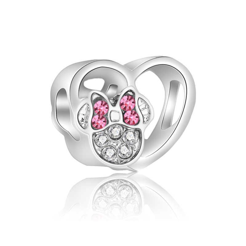 Estilo simples Pés De Cristal Ângulo Da Árvore Da Estrela Bow Crown Coração Mickey Contas Fit Encantos Pandora Originais para As Mulheres DIY Bugiganga jóias