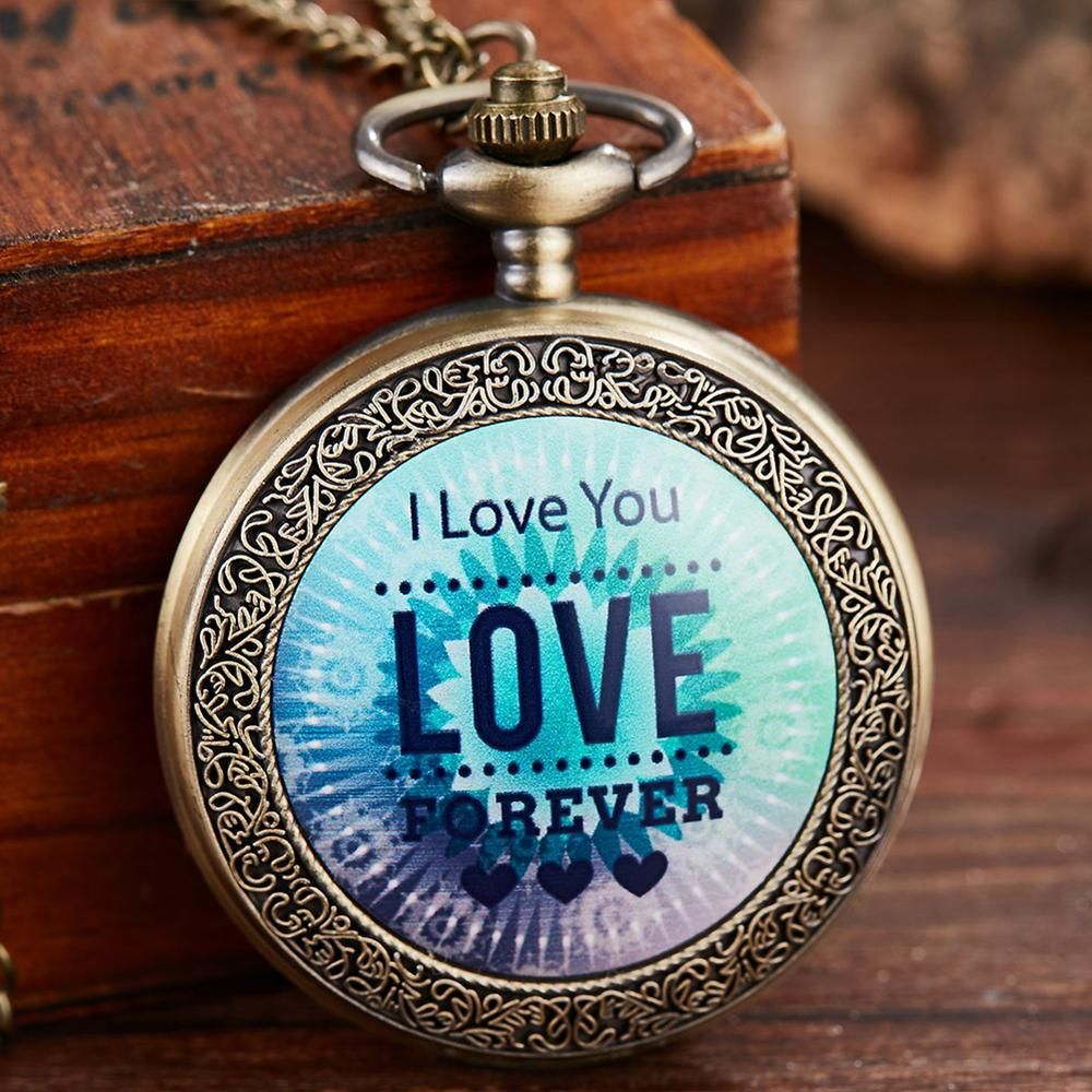 Pocket Watch I Love You Forever Till The End Of Time Pendant QUARTZ Clock Fob Chain Reloj For Gift Men Women Gold Sliver Watches