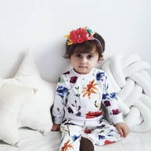 New 3pcs/set Baby Girl Clothes Set Flower Pattern Concise Cute Long Sleeve T-shirt Skirt Girls Toddler  0-4Y