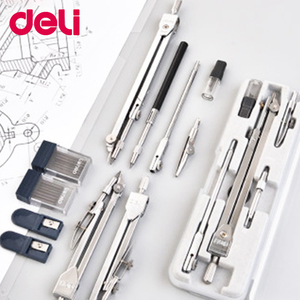 Deli Stainless Steel Multifunctional Drafting Drawing Compass Math Geometry 2/4/5/6 pcs/set Circles Tool Durable School Supplies