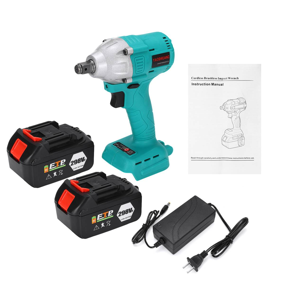 2 Battery 22800mAh Electric Wrenches 298VF 650NM 1/2'' Electric Impact Wrench Brushless Cordless Impact Wrench Power Tool