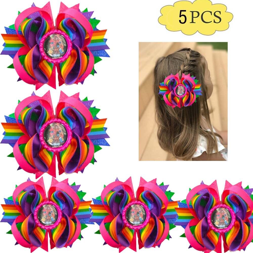 Free Shiping 5pcs 4.5'' Newest Troll.s Stacked  Hair Bow Character Hair Clips Cartoon Hair Bows