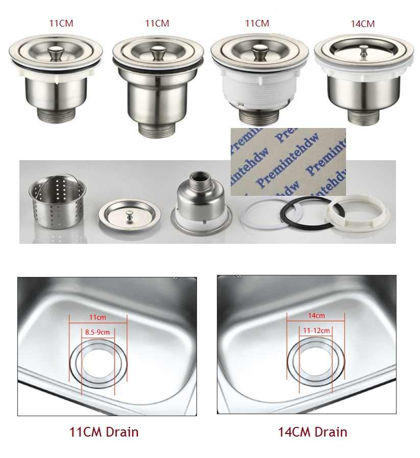 110mm 140mm kitchen stainless steel sink drain strainer basket fit to 3 1 2 4 1 2 sink hole