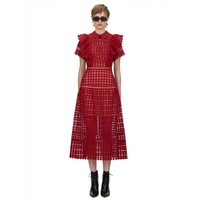 2020 Spring women's red party dress high quality hollow out lace dress B401