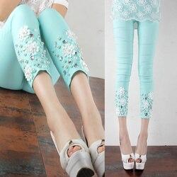 Neue 2020 Frühling und Sommer Kühle Frucht Farbe Hand-Genäht Kristall Perle Oberbekleidung Leggings Schlank Bleistift Hosen Frauen kleidung