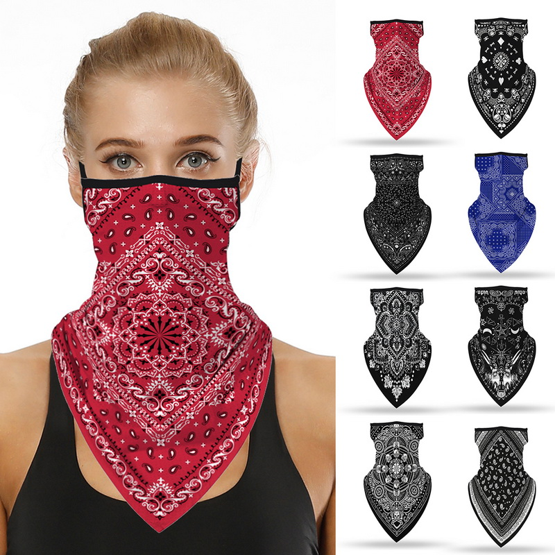 Unisex Men Women Face Scarf Bandana Ear Loops Face Balaclava Neck Gaiters Digital Printed Windproof Thin Wrap Scarf(China)