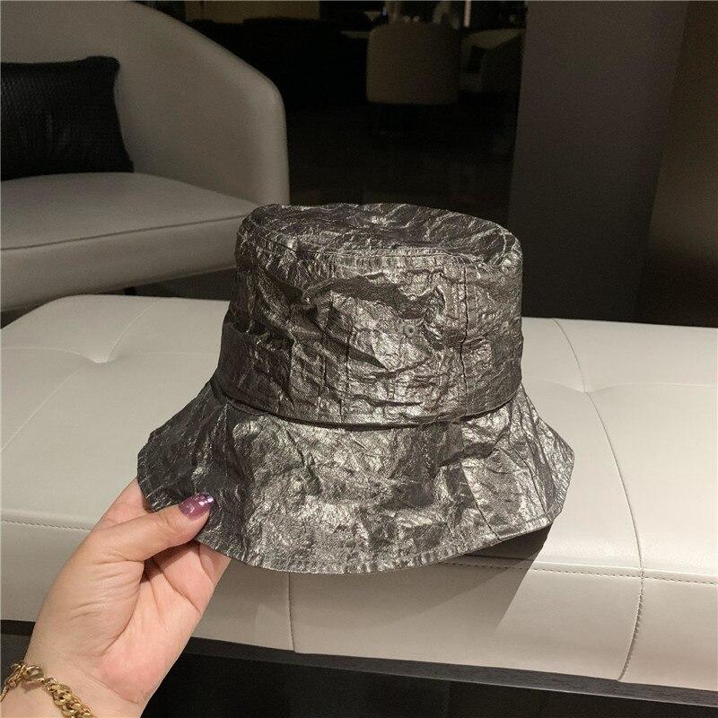 202105-xx new Future metal elements   tin foil color fashion street lady bucket cap men women leisure hat