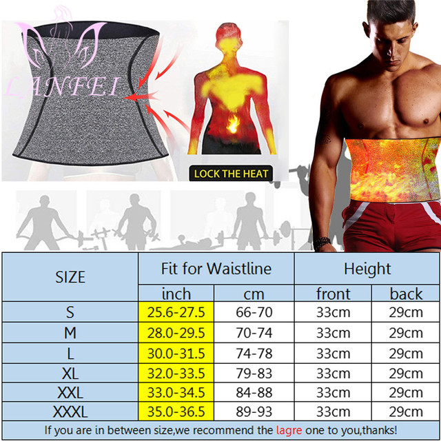 LANFEI Men Waist Trainer Belt Neoprene Sauna Sweat Body Shaper Belly Wrap Workout Tummy Control Slimming Corset for Weight Loss 3