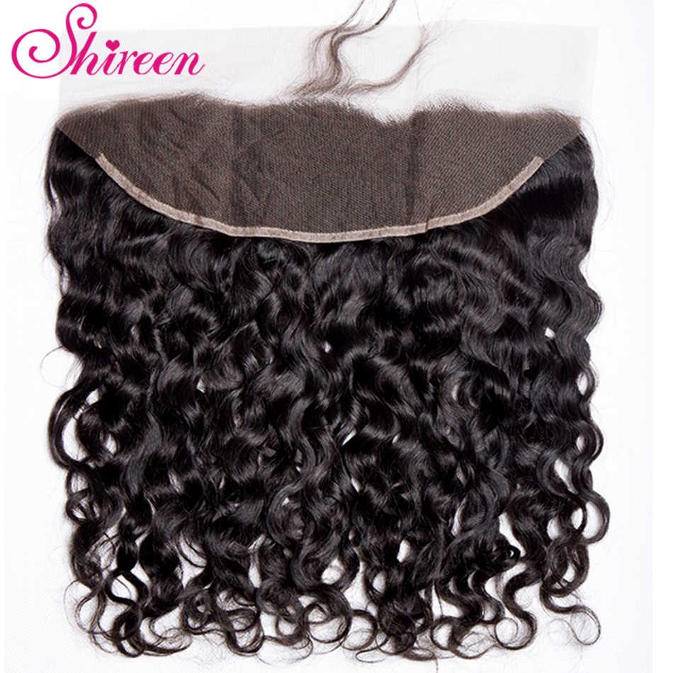 Shireen индийские волнистые человеческие волосы 3 пучка с фронтальным закрытием шнурка с пучками уха к уху Кружева Фронтальные не-Реми волосы переплетения