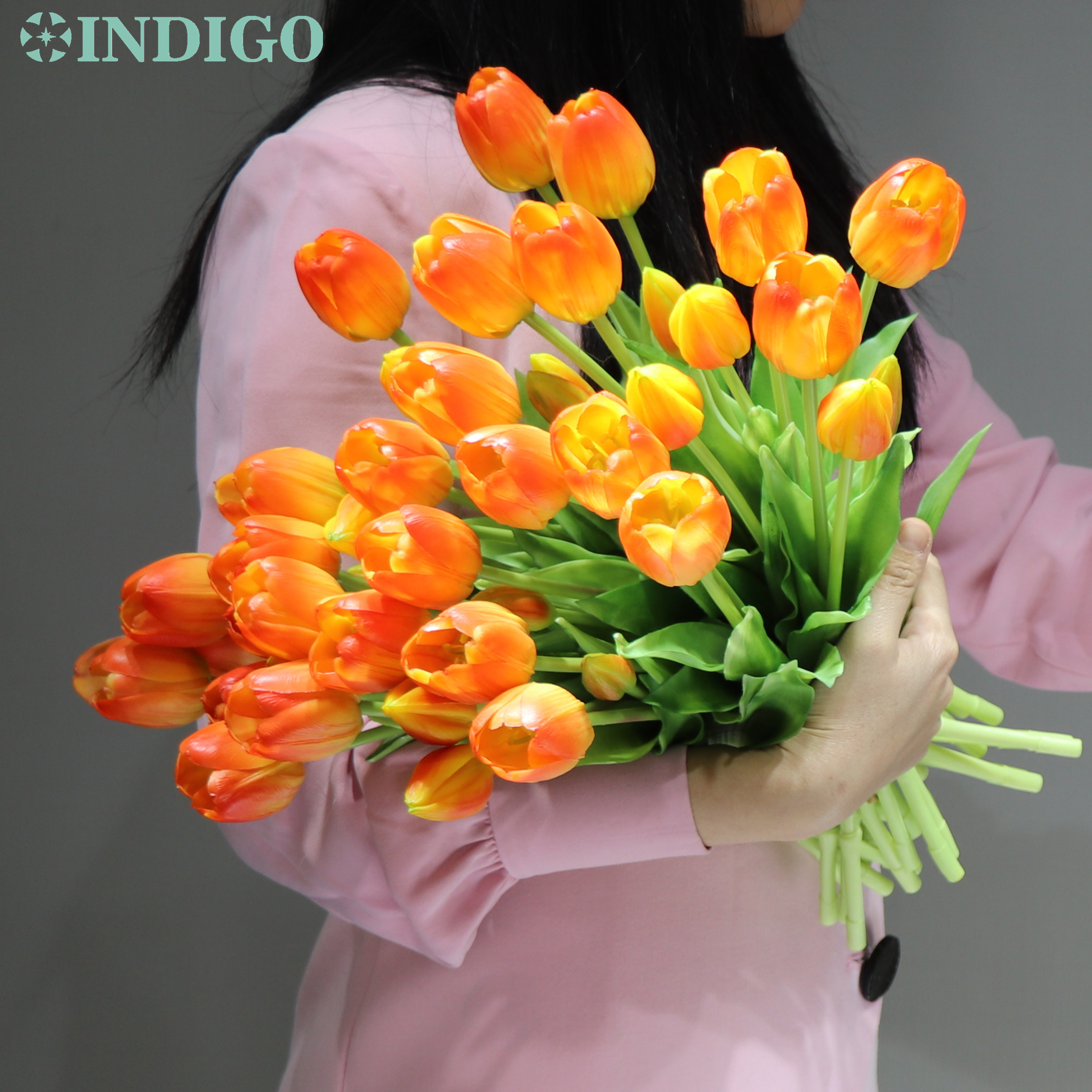 INDIGO-(3 flowers+2 bud)Bouquet Real Touch Silicone Tulip High Quality Yellow Tulip Home Artificial Flower Wedding DropShipping-2