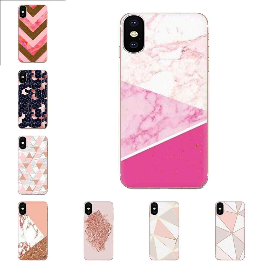 Diy Drawing TPU For LG K50 Q6 Q7 Q8 Q60 X Power 2 3 Nexus 5 5X V10 V20 V30 V40 Q Stylus Gold Pink Glitter Marble