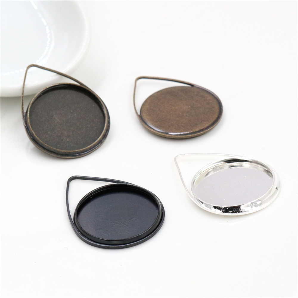 10pcs 20mm Inner Size Silver Plated Bronze Black Copper Material Drop Style Handmade Cabochon Bases Cameo Base Pendant