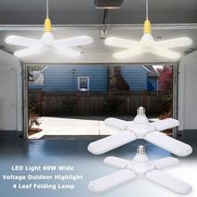 E27 60W 304 LED   Folding Garage Light Four Leaf Foldable Bulb Light Wide Pressure High Brightness Constant Current with Bulb