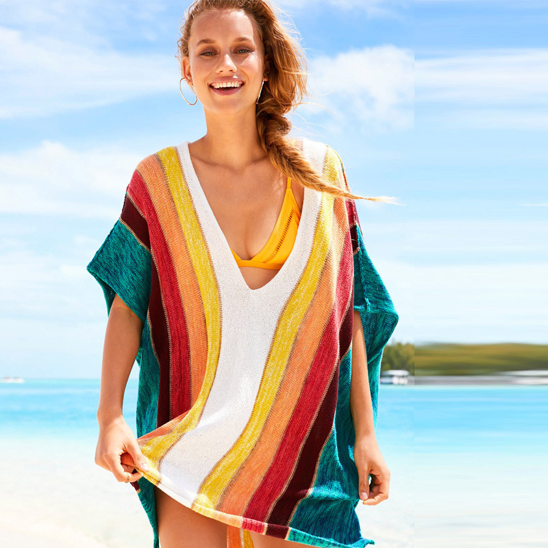 Wholesale Hot Selling Europe And America Article Rainbow Loose-Fit Knit Hollow Out Beach Cover-up Holiday-Bikini Outdoor