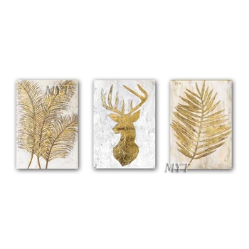 Hand Drawn Gold Foil Abstract New Design Oil Painting Artwork Canvas Wall Decor Art 3 Panel Abstract Paintings For Living Room