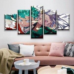 Quadros em tela meu herói academia arte da parede anime papel hd impressão poster decoração casa 5 painel modular fotos para o quarto quadro