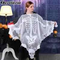 OurWarm Halloween Horror Requisiten Skeleton Poncho Erwachsene Kostüme Weiß Schal Spitze Mesh Kleid Up Halloween Party Dekoration 60 Zoll