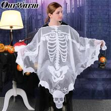 OurWarm Halloween Horror Props Skeleton Poncho Adults Costumes White Shawl Lace Mesh Dress Up Halloween Party Decoration 60 Inch
