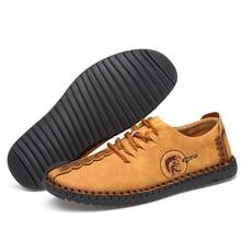 38 48 حذاء كاجوال رجالي ماركة 2019 أحذية أنيقة مريحة جلد رجالي #601