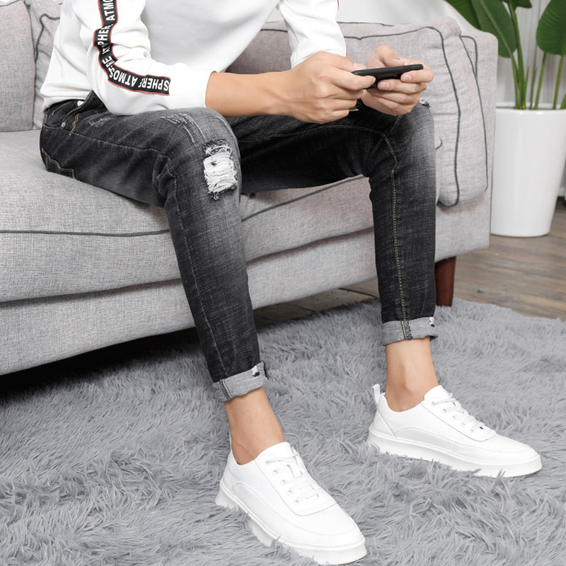 Black And White With Pattern Origional Jeans Trousers Lower Apron Pants Men's Elasticity Slim Fit Pants Pencil Pants Micro Elast