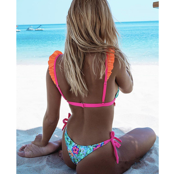 2020 Sexy Floral Print Bikini Swimwear Women Swimsuit Ruffle Bikini Set Brazilian Bathing Suits Summer Beach Wear Swimming Suit 1
