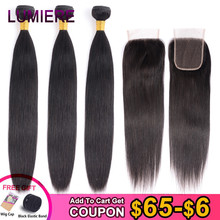 Lumiere saç brezilyalı düz insan saçı kapatma ile 3 demetleri saç örgü demetleri ile kapatma 100% saç uzatma Remy saç
