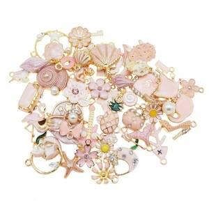 10pcs Mixed Color Enamel Charms Flower Plant Star Pendant Black Pink Blue Red Random for Bracelet Earrings Jewelry DIY Accessory