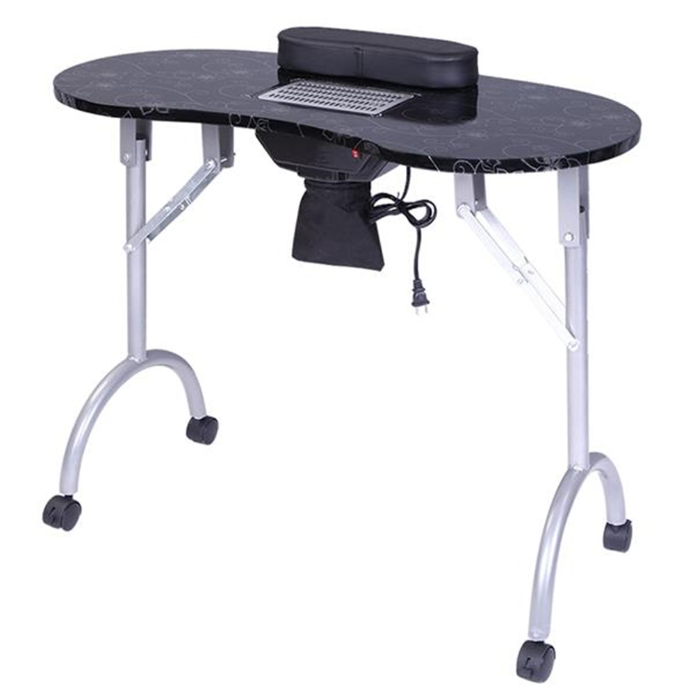 Portable MDF Manicure Table Spa Beauty Salon Equipment Desk With Dust Collector & Cushion & Fan Black Nail Table