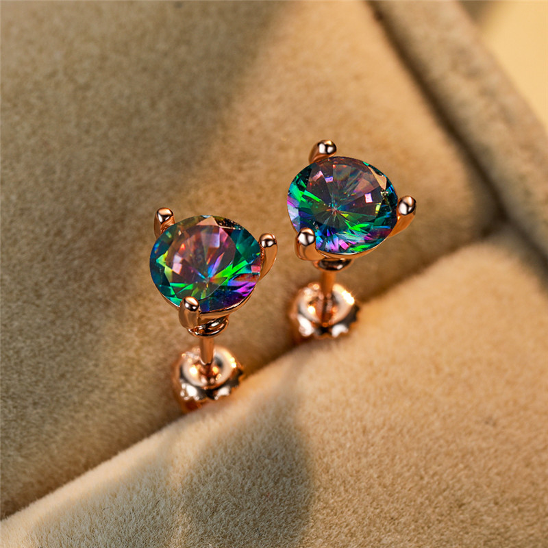 7MM Round Rainbow Zircon Mystic Fire Stone Spiral Stud Earrings for Women Rose Gold Filled Crystal Earrings Lady Wedding Jewelry