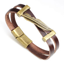 Mens 21cm vintage yellow/brown leather bracelet with magnetic clasp for men