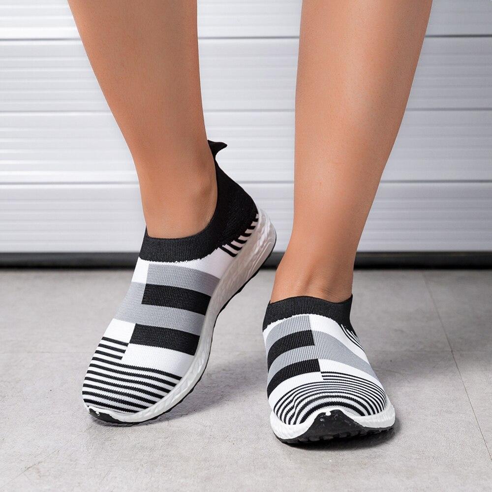 Women Sneakers Vulcanized Shoes Sock Sneakers Women Summer Slip On Flat Shoes Women Loafers Walking shoes 2020|Women's Vulcanize Shoes| - AliExpress