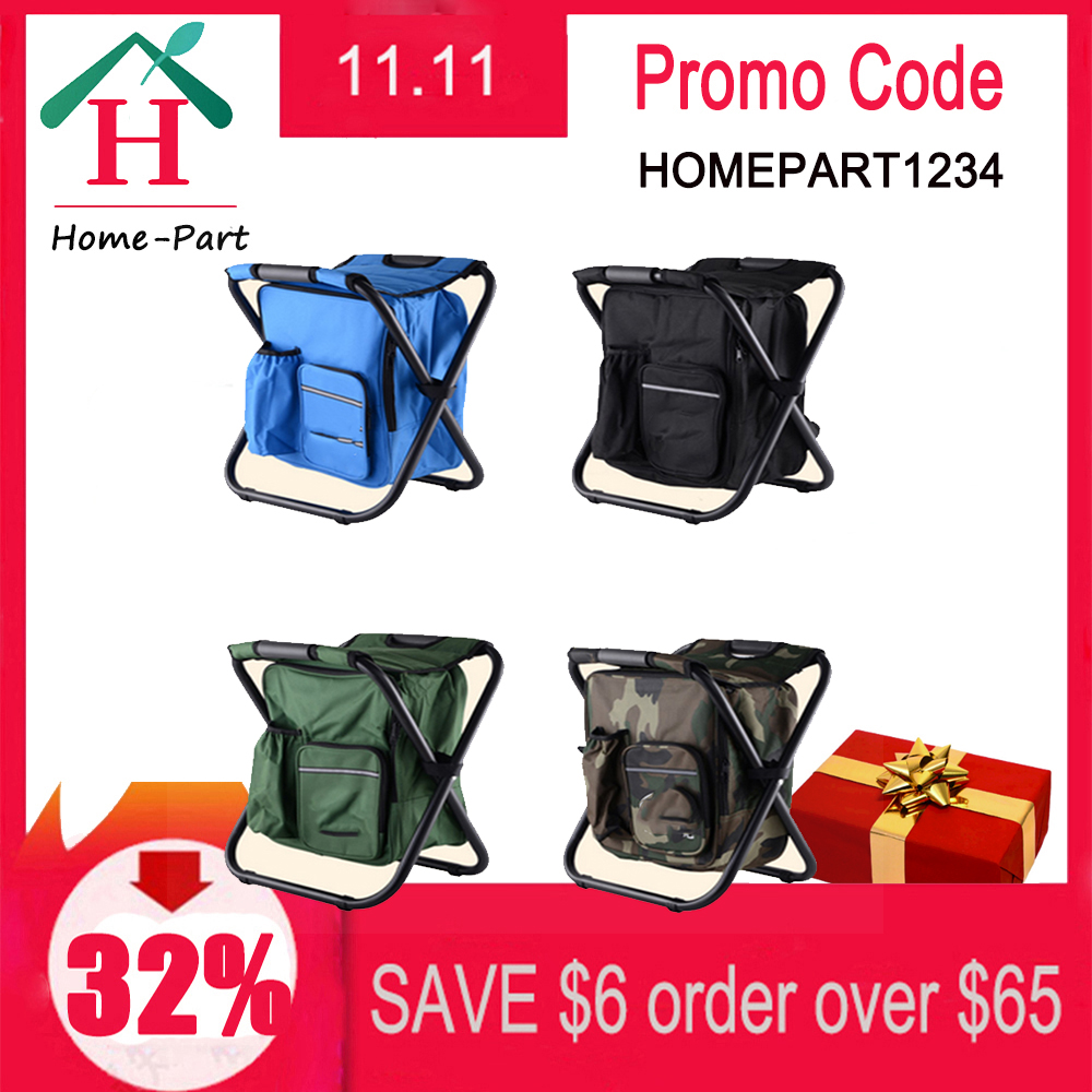 Outdoor Fishing Chair Bag Folding Camping Stool Portable Backpack Cooler Insulated Picnic Bag Hiking Seat Table Bag 150KG