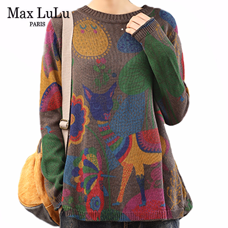 Max LuLu 2020 Spring Korean Fashion Designer Ladies Loose Knitwears Womens Casual Printed Sweaters Vintage Pullovers Plus Size